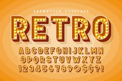 Retro cinema font design, cabaret, Broadway letters. And numbers. Swatches color control royalty free illustration