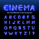 Retro cinema font. Vector illustration on black background. Can be used for christmas, happy new year, happy birthday and more Royalty Free Illustration