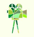Retro cinema icon. Retro cinema con. Keyhole design. Abstract multicolor illustration of reel projector. Mosaic style silhouette Royalty Free Stock Image