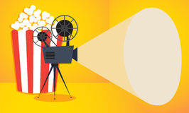 Retro cinema icon with popcorn. Vector illustration, place for text Royalty Free Stock Photography
