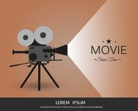 Retro cinema icon with text place, vector illustration. Retro cinema icon with text place. Vector illustration. vintage camera Royalty Free Stock Photography