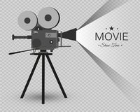 Retro cinema icon with text place, vector illustration. Retro cinema icon with text place. Vector illustration. vintage camera Royalty Free Stock Images