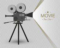 Retro cinema icon with text place, vector illustration. Retro cinema icon with text place. Vector illustration. vintage camera Stock Photography