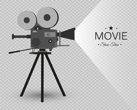 Retro cinema icon with text place, vector illustration. Retro cinema icon with text place. Vector illustration. vintage camera Royalty Free Stock Photos