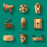 Retro Cinema Icons Set. With collection consisting of nine objects concerning movie vector illustration Royalty Free Stock Images