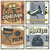 Retro Cinema Labels Set. Four squares composition in retro style with cinema movie making symbols film directors chair megaphone vector illustration Royalty Free Stock Photo