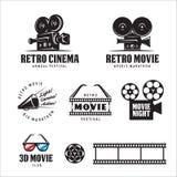 Retro cinema labels set. Vector vintage illustration. Royalty Free Stock Photo