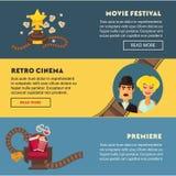 Retro cinema movie premiere festival vector flat web banners design template. Retro cinema and movie premiere festival web banners flat design template. Vector Stock Image