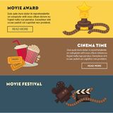 Retro cinema and movie premiere festival web banners. Flat design template. Vector vintage actor star award, video film camera, cinema ticket or 3D stereoscopic Royalty Free Stock Photography