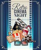 Retro Cinema Night Invitation Poster Stock Photos