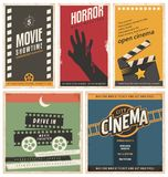 Retro cinema posters and flyers collection. Vintage movie signs layouts. Promotional film printing templates for ads or banners on old paper texture Stock Photos