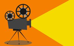 Retro cinema projector with text place. 3D rendering stock illustration
