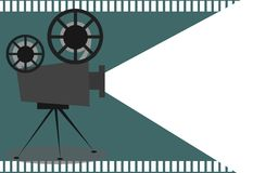 Retro cinema projector with text place. 3D rendering royalty free illustration