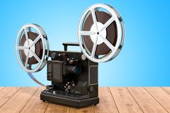 Retro cinema projector on the wooden table. 3D rendering. Retro cinema projector on the wooden table. 3D royalty free illustration