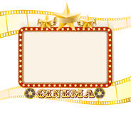 Retro cinema sign banner with lights, stars, film strips Royalty Free Stock Image