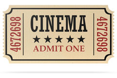 Retro cinema ticket isolated with shadow Stock Photography