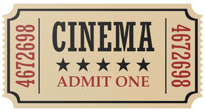 Retro cinema ticket isolated. Vintage retro cinema creative concept: retro vintage cinema admit one ticket made of yellow textured paper isolated on white Stock Image