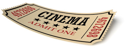 Retro cinema ticket  on white with shadow Stock Photography