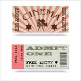Retro cinema tickets or event. Shape with texture effect and vintage text. Admit one movie ticket. Vector 3D. Illustration, ready for print Royalty Free Stock Photography