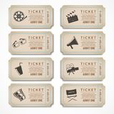 Retro cinema tickets. Retro movie cinema ticket banners with vintage camera popcorn isolated vector illustration Royalty Free Stock Photography