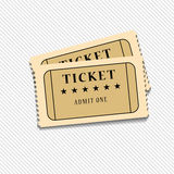 Retro cinema tickets on white background, vector. Illustration Stock Photography
