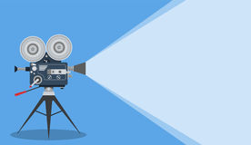 Retro cinema Video Camera. With text place. movie poster, placard banner for film. Vector illustration in flat style Royalty Free Stock Image