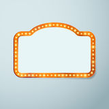 Retro cinema vintage old bulb frame sign Stock Images