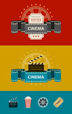 Retro cinematography banners with icons flat design. Eps10 vector illustration Stock Photo