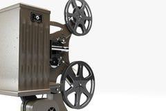 Retro cineproiettore isolato su bianco Fotografia Stock Libera da Diritti