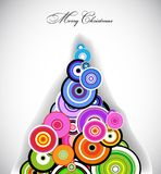 Retro Circle colorful Christmas Tree. Vector Stock Photo