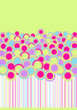 Retro Circle Flowers Field. With copy space in the sky Royalty Free Stock Image