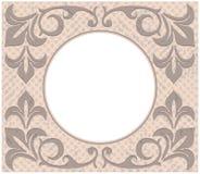 Retro circle frame with vintage ornament. Retro circle frame with stylish vintage ornament and floral elements Royalty Free Stock Photos