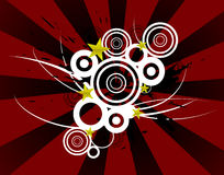 Retro circle pattern. A black white and Red abstract background pattern featuring circles and stars Stock Image