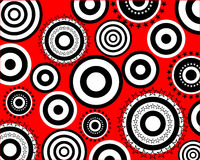 Retro circle pattern. Vector illustration of black and white circles on a red background Stock Photos