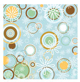 Retro circles background. Funky retro circles and flowers background Royalty Free Stock Photography