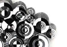 Retro circles background. 3d abstract background Black and White  circles Stock Photo