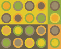 Retro circles collage. Retro brown, green, yellow and orange circles collage stock illustration