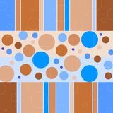 Retro circles and cubes. Vintage tile pattern with brown and blue circles and squares stock illustration