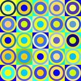 Retro circles and cubes. Vintage seamless tile pattern with blue and yellow circles royalty free illustration