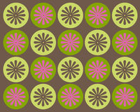 Retro circles and flowers graphic design. Retro pink, green and brown circles and flowers graphic design royalty free illustration