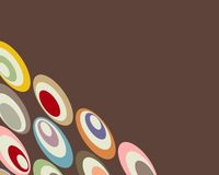 Retro circles graphic design. Retro, distorted colorful circles border stock illustration