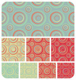 Retro Circles Pattern Set. Seamless Retro circles pattern. Set of 8 colour variations stock illustration