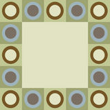 Retro circles and squares border. Retro circles and squares in green, blue and brown border stock illustration