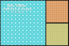 Retro Circles and Star Pattern. Seamless Retro Circles and Star Pattern in retro color palette stock illustration