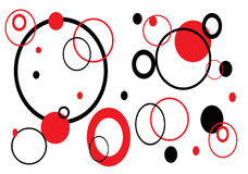 Retro Circles on White. Red and black retro background Royalty Free Stock Images