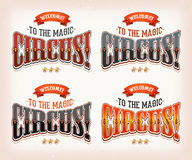 Retro Circus Banners. Illustration of a set of retro welcome banners, on vintage and grunge background, with elegant typography, for circus holidays and events Royalty Free Stock Photo