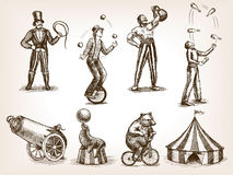 Retro circus performance set sketch vector. Retro circus performance set sketch style vector illustration. Old hand drawn engraving imitation. Human and animals stock illustration