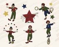 Retro circus performance . Sketch stile vector illustration. Hand drawn imitation. Clowns set royalty free illustration