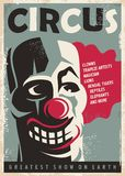Retro circus poster. Design template with clown portrait. Vintage style vector illustration Royalty Free Stock Image