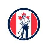 Retro cirkel för flagga för Kanada trycktvagning royaltyfri illustrationer